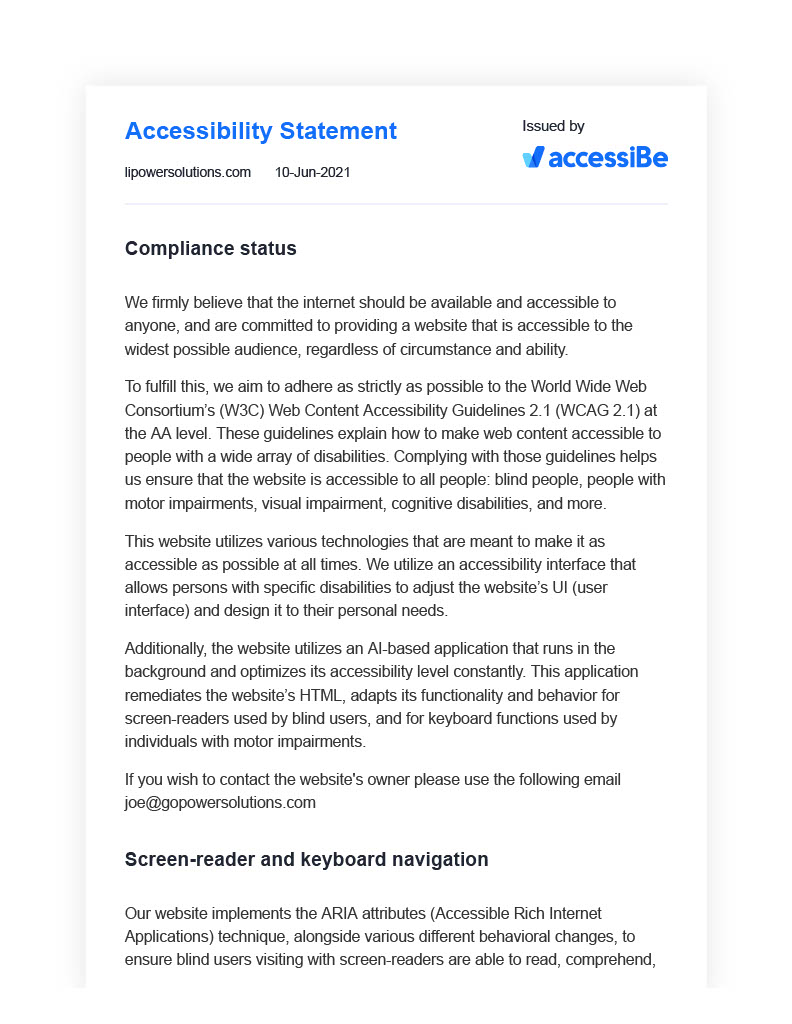 Long Island Power Solutions Accessibility Statement Page 1